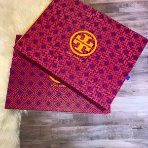 2 Large Tory Burch Gift Boxes Pink and Orange